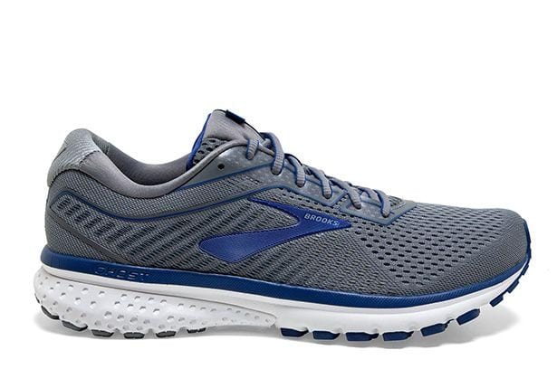 BROOKS GHOST 12 (2E) MENS GREY ALLOY BLUE