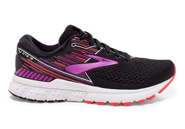 BROOKS ADRENALINE GTS 19 (2E) WOMENS BLACK PURPLE CORAL