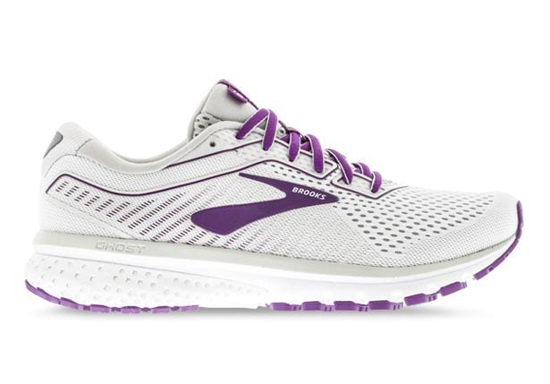 BROOKS GHOST 12 WOMENS WHITE GREY HOLLYHOCK