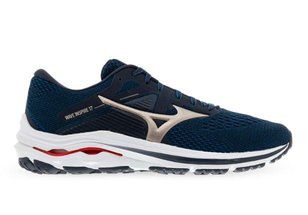 MIZUNO WAVE INSPIRE 17 MENS INDIA INK GOLD RED