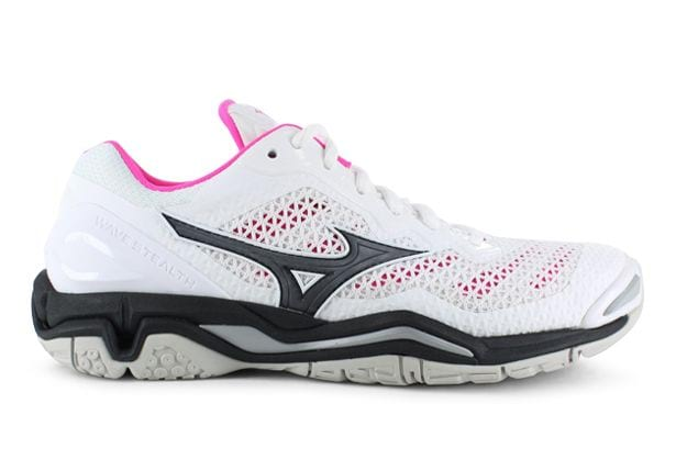 MIZUNO WAVE STEALTH 5 WOMENS WHITE BLACK PINK GLO