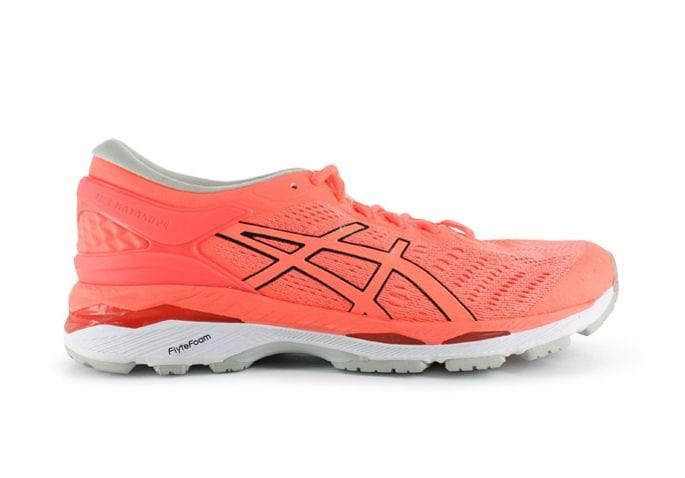 ASICS GEL-KAYANO 24 INJ WOMENS FLASH CORAL BLACK WHITE